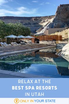 Get away from it all and relieve stress at these 13 relaxing spa resorts in Utah. Enjoy secluded suites, steam rooms, and so much more. Utah Resorts, Couples Resorts, Best Resorts, Vacation Resorts, Hotels And Resorts, Best Hotels, Beautiful Places In America, Vacations To Go, Best Spa
