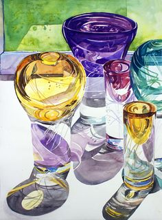 Glass Abstracts    by Nora Larimer   Watercolor 16 x 22