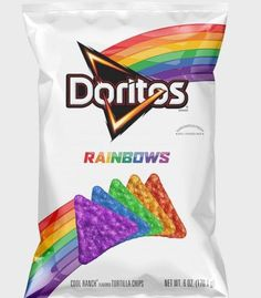 You'll want to check out Doritos Rainbows. Doritos teamed up with the It Gets Better Project to create limited-edition chips to help support the LGBT community. Rainbow Food, Love Rainbow, Taste The Rainbow, Rainbow Pride, Over The Rainbow, Rainbow Colors, Rainbow Things, Rainbow Stuff, Rainbow Snacks