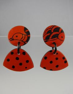 Polymer clay earrings by Annie Jacobi Jewelry.