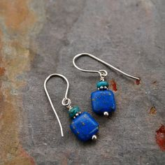 Turquoise and Lapis Earrings by wildharegems4 on Etsy, $10.00