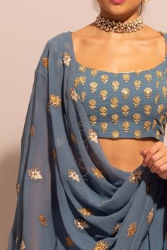 Blue Grey Gota Lehenga Set with Unstitched Blouse Lehenga Designs, Saree Blouse Designs, Dress Indian Style, Indian Dresses, Pakistani Dresses, Indian Wedding Outfits, Indian Outfits, Indian Attire, Indian Wear