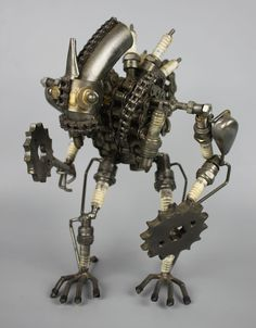 Scrap Metal Sculpture Model Recycled Handmade Art Robot 2                                                                                                                                                                                 More