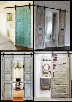 Vintage door, vintage doors, barn door, barn doors found by Foo Foo La La - bedroom furniture master Teenage Room Decor, Inside Barn Doors, Vintage Doors, Vintage Door Decor, Wardrobe Doors, Closet Doors, Dream Bathrooms, Interior Barn Doors, Farmhouse Decor