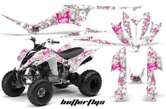 Yamaha Raptor 350 Graphics Butterflys Pink White. I want this bike and graphics..