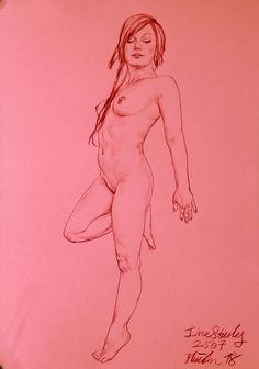 Originale AKT Zeichnung Nude Drawing Line Study auf Papier on Paper A3 2507