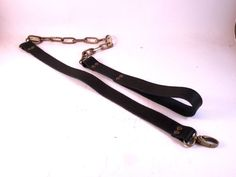 FREE SHIPPING Black leather leash with chain for by LEATHERELY