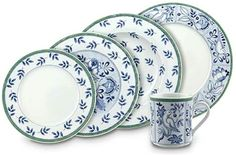 Stoneware Dinnerware Sets, Porcelain Dinnerware, Tableware, Blue And White Dinnerware, Green Cups, Crystal Stemware, Everyday Dishes, White Dishes, China Sets