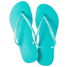 Havaianas Women Slim Solid Flip-Flops (35 CAD) ❤ liked on Polyvore featuring shoes, sandals, flip flops, flats, sapatos, pool green, green flats, havaianas flip flops, havaianas and flats sandals