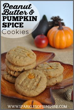 Delicious Peanut Butter & Pumpkin Spice cookies recipe from Sparkles of Sunshine is easy to make with just 4 ingredients. Perfect cookie for the fall season!