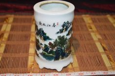 """Asian Porcelain Vase Outdoor scene and Writing 4 7/8""""x3 1/8"""""""