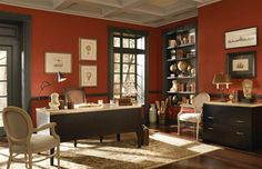 Behr's elegant Bolero red on the walls and Wild Honey on the ceiling.