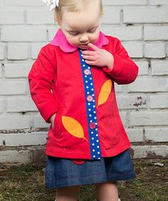 Loving this Red & Blue Polka Dot Leaf Jacket - Toddler & Girls on #zulily! #zulilyfinds