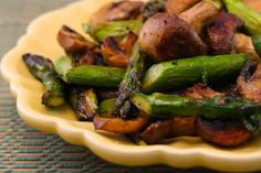 Roasted Asparagus and Mushrooms with Spike Seasoning is easy to make and seriously delicious!   [from Kalyn's Kitchen] #LowCarb  #Vegan  #Paleo  #SouthBeachDiet