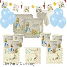 Peter Rabbit Party Kit Plates Cups Baby Shower Christening First 1st Birthday