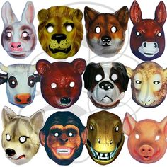 LARGE Plastic Animal Mask Children Fancy Dress Party Costume Elasticated Strap