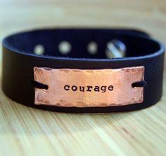 Copper Leather Cuff Bracelet