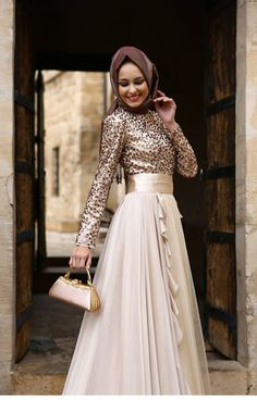 cream and shiny leopard with hijab Islamic Fashion, Muslim Fashion, Modest Fashion, Fashion Dresses, Hijab Evening Dress, Hijab Dress, Grad Dresses, Club Dresses, Maxi Dresses