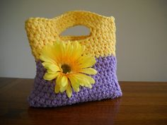 Cute Young Girl's Double Crochet Purse in Lavender by TamiAndDani, $15.00
