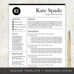 professional resume template cv template mac or pc for word creative modern design cover letter instant download the kate - Resume Templates Mac Word