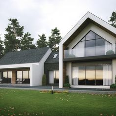 Modern house outside Newry, Northern Ireland. fully glazed gable with covered area taking in the views. polished concrete & timber cladding materials along with slate roof Bungalow Haus Design, Modern Bungalow House, Bungalow Exterior, Dream House Exterior, Small Modern House Exterior, House Cladding, Facade House, House Roof, Timber Cladding