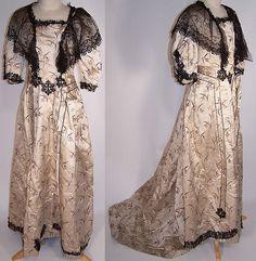 Victorian Floral Silk Brocade Black Lace Bustle Ball Gown Skirt Train Dress .