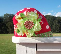 Adorable Christmas hat & bow.  www.pb3j.etsy.com - be sure to join our mailing list for great deals and coupon codes!