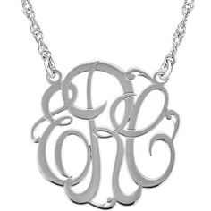 14kt White 15mm 3-Letter Script Monogram Necklace. Also available in silver at wileysjewelry.com