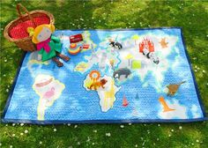 A stunning play mat or picnic blanket for your child in world map print. This play mat is sure to make a great talking piece as they grow,and is a ...