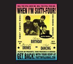 Printable Beatles Invitation - The Beatles Party Invite - Vintage Beatles Concert Poster Invitation - Retro Invitation - Printable Birthday by 105DesignHouse on Etsy