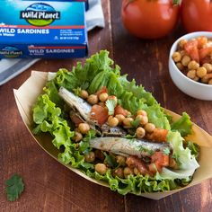 For a keto friendly meal, use our Omega 3 rich Wild Sardines with chickpeas in a lettuce wrap.