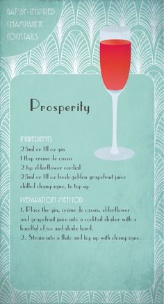 Great Gatsby Inspired Prosperity Cocktail ! #Gatsby party!  #Cocktail #CocktailRecipes #Champagne #Recipes #Drink #Design