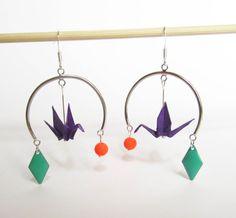 Créoles oiseaux origami Neon Geometric Summer par ichimo sur Etsy, €10.00