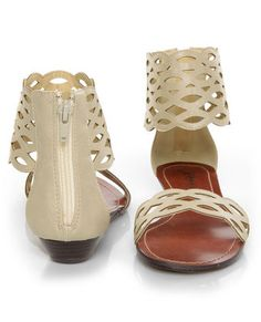GoMax Sweet Dreams Beige Laser Cutout Ankle Cuff Sandals
