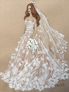 Marchesa Bridal illustration by Cheri Miller. For enquiries, contact: CheriMillerArt@aol.com #Marchesa #fashion #illustration #bridal #art #wedding