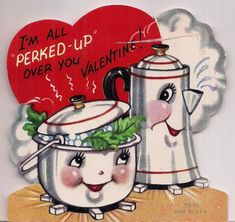 Vintage 1960s Valentines Day Card Anthropomorphic Perked Up Coffee Pot & Kettle