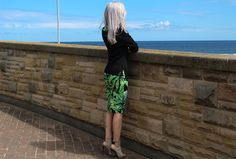 Summer style - AX Paris tropical print dress worn with a black misguided sweater and strapped heel boots
