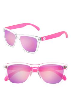 These fun, pink sunglasses give an 80's vibe with the retro styled frames. These would be perfect for those sunny days!