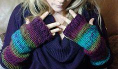 Wrist warmers knit in Mulberry yarn by Jodi Villanella
