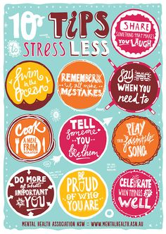 10 tips to stress less. Except swimming in the ocean may not be doable the next couple months! :)