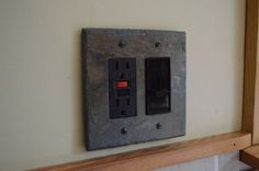 Decorative Slate Switch Plate Double Outlet Cover GFI Decora Rocker Switchplate Wall Light Rustic Log Cabin