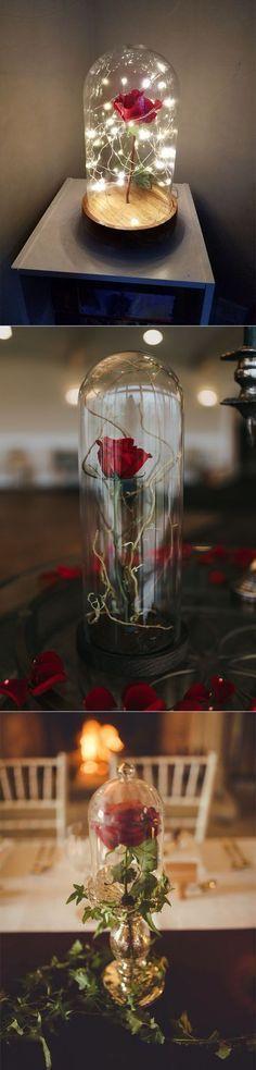 disney theme beauty and the beast rose wedding centerpieces #weddingcenterpieces