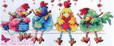 Sandrinha Ponto Cruz: Galinhas tricotando
