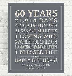 Birthday Gifts for Mom Lovely Birthday Gift Sign Dad Birthday Gift Mom by 60th Birthday Ideas For Dad, Grandpa Birthday Gifts, 60th Birthday Gifts, Dad Birthday, Birthday Wishes, Mother Birthday, 60 Birthday Quotes, 60 Birthday Party Ideas, Birthday Canvas