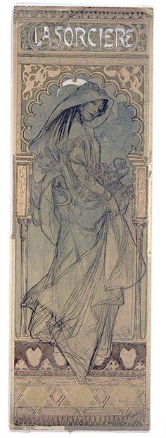"""Alphonse Mucha ~ Projet d'affiche pour """"La Sorcière"""",1903…"""