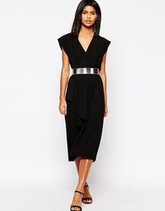 ASOS Asymmetric Contemporary Midi Dress With Belt