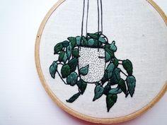 Plant Embroidery 'Ivy Planter' 4 inch Hoop Art | Felt