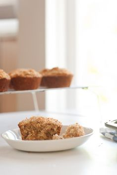 Banana Coconut Muffins. Amazing! (Made with whole wheat flour, unsweetened coconut, coconut oil and honey.)