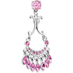 Top Mount Pink Sophia Gem Chandelier Belly Ring | Body Candy Body Jewelry