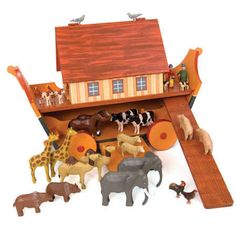 Christian Werner's Size Large exquisite wooden Noah's Ark, ramp and figures…